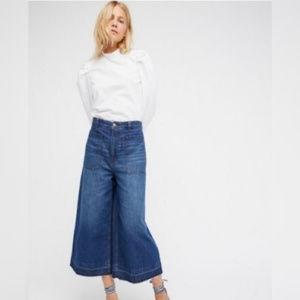 FREE PEOPLE Wide Leg Blue Denim Jeans High Rise